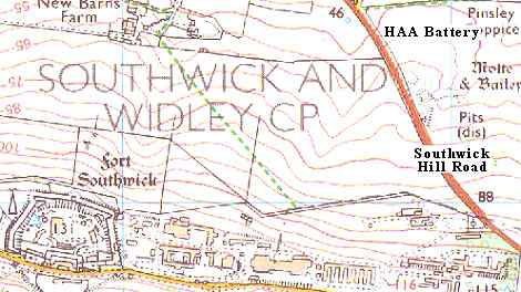 Southwick HAA battery 1:25000 map